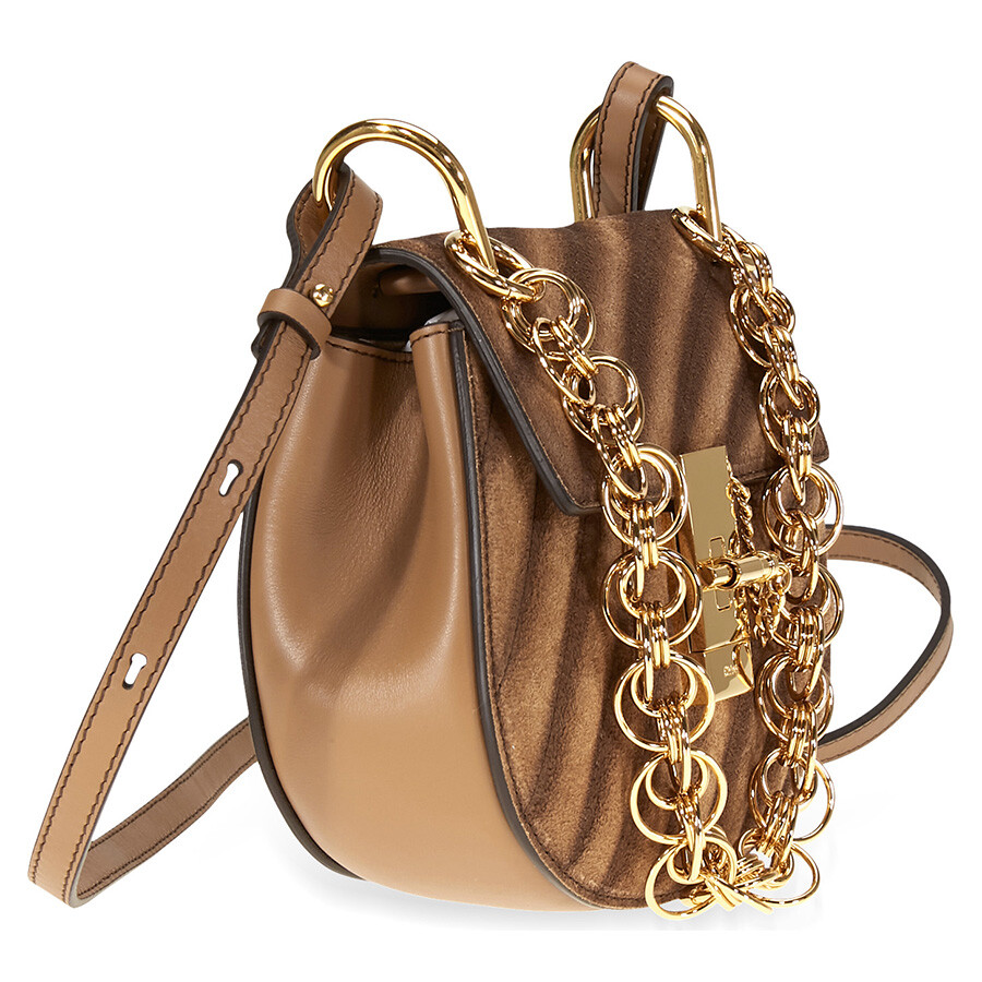54e16ac63d8f Chloe Small Drew Bijou Suede and Leather Shoulder Bag- Nut - Drew ...