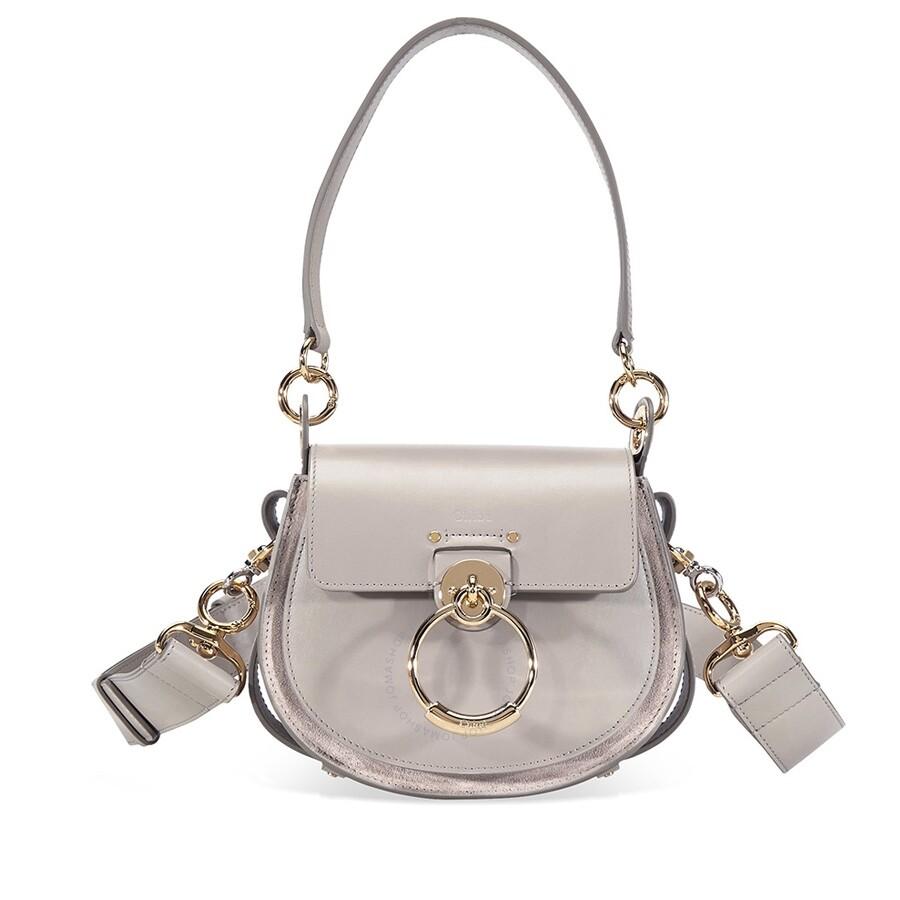 570cd5a00a Chloe Tess Small Shiny & Suede Calfskin Crossbody Bag- Motty Grey Item No.  C18WS153A37-23W