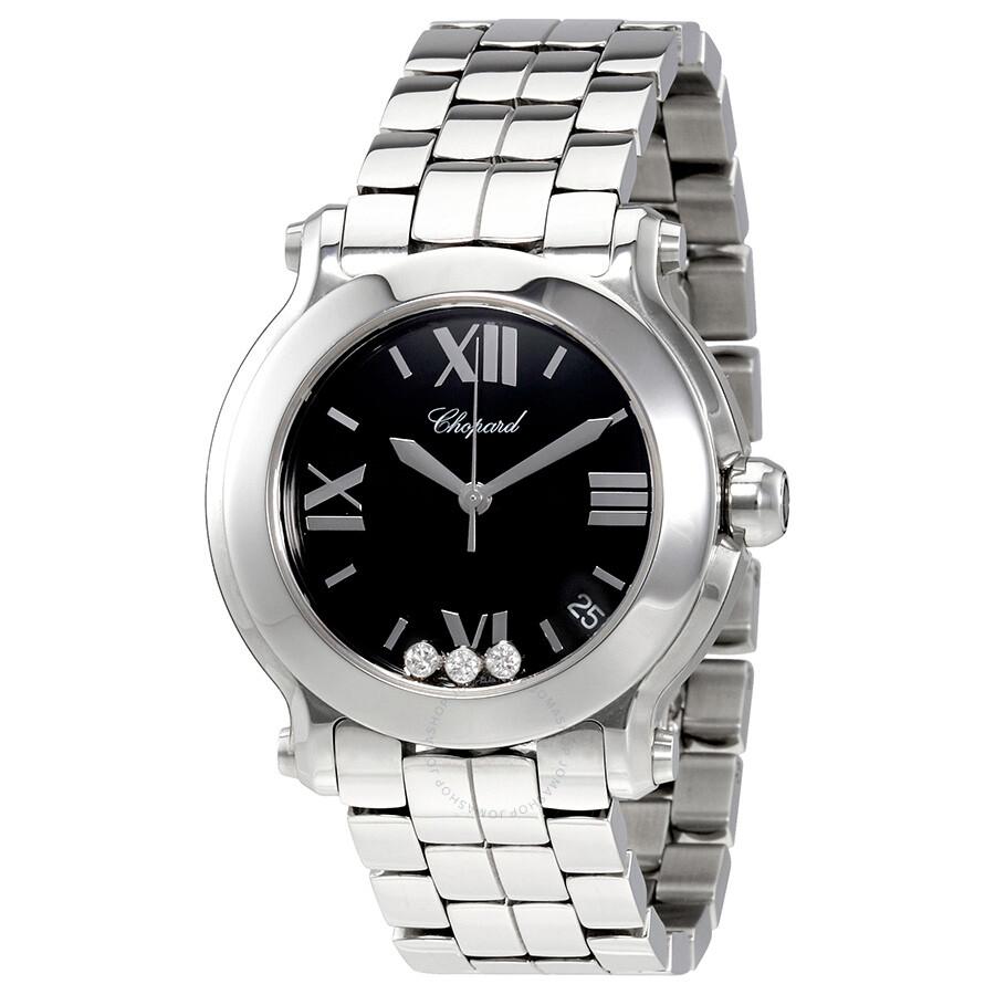 0d5893f9f9138 Chopard Happy Sport Black Dial with Three Floating Diamonds Ladies Watch  278477-3014 ...