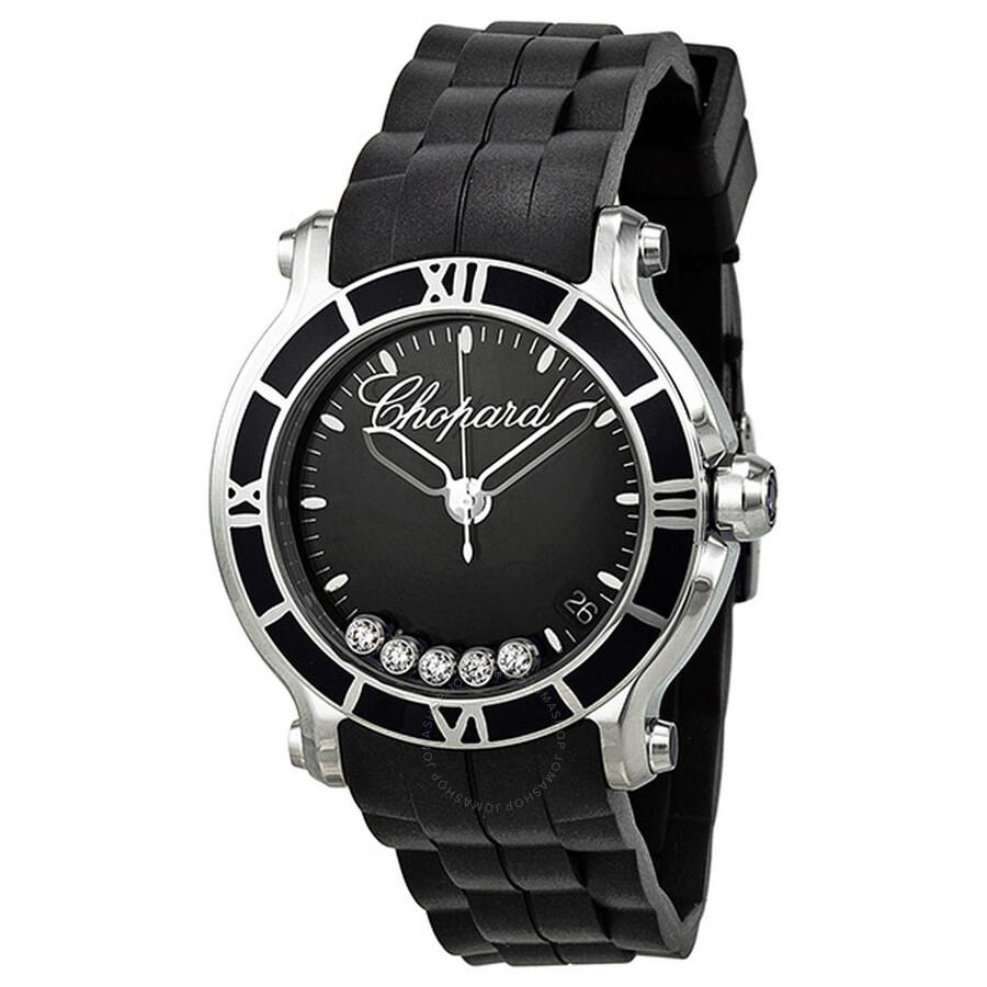 Chopard Happy Sport Floating Diamonds Black Dial Ladies Watch Item No.  278551-3002 7c1810d2136