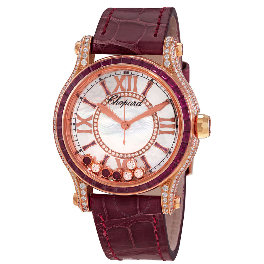 chopard happy sport mother of pearl with diamonds and rubies dial ladies watch 274891 5004