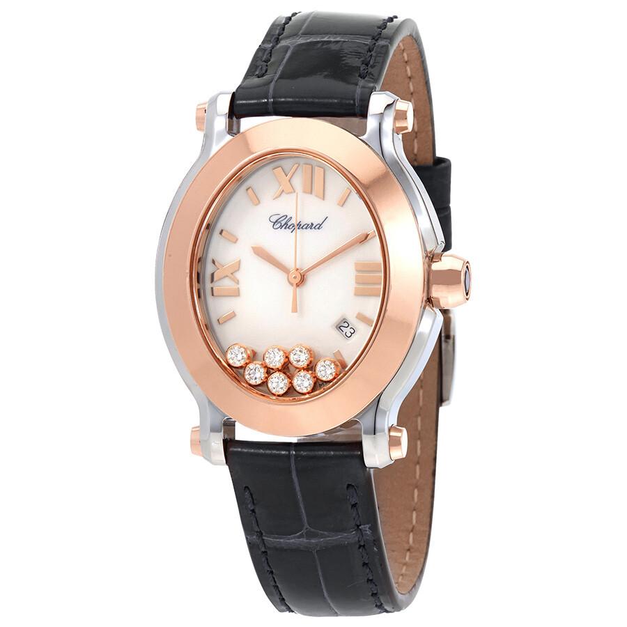adbbf6c4d6e Chopard Happy Sport Oval Floating Diamonds Rose Gold and Steel Ladies Watch  278546-6001 ...