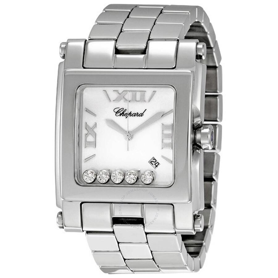 c4a3f3a7b7d Chopard Happy Sport Square Diamond Ladies Watch 28 8467 - H ...