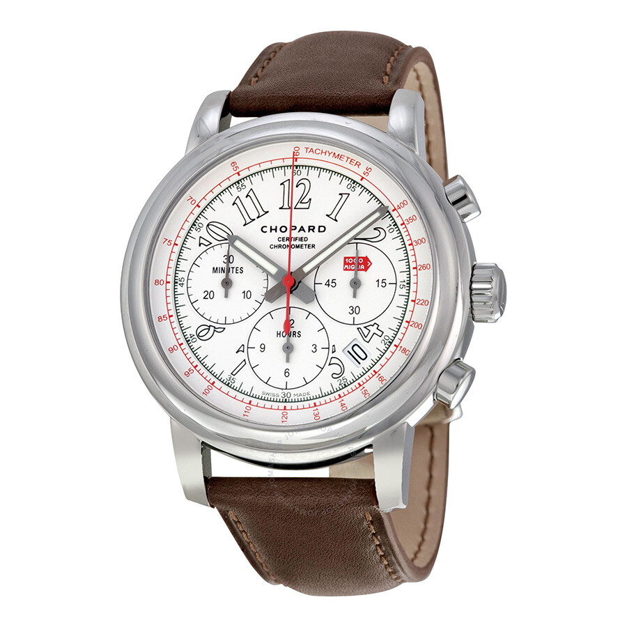 chopard mille miglia chronograph white dial brown leather. Black Bedroom Furniture Sets. Home Design Ideas