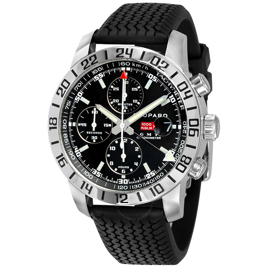 chopard mille miglia gmt steel black chronograph men 39 s. Black Bedroom Furniture Sets. Home Design Ideas