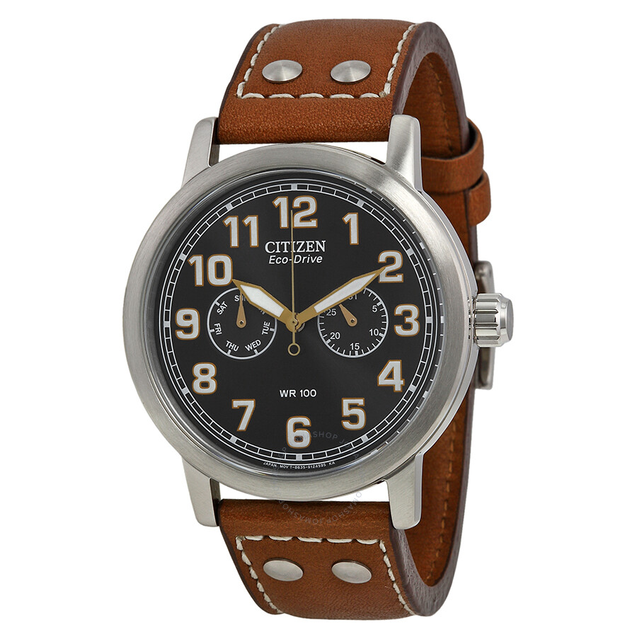 citizen avion multi function eco drive black brown