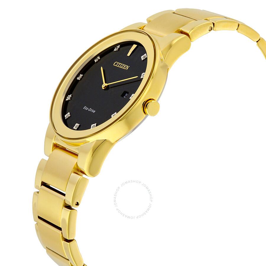 c3062b4ea ... Citizen Axiom Black Dial Gold-tone Diamond Men's Watch AU1062-56G ...