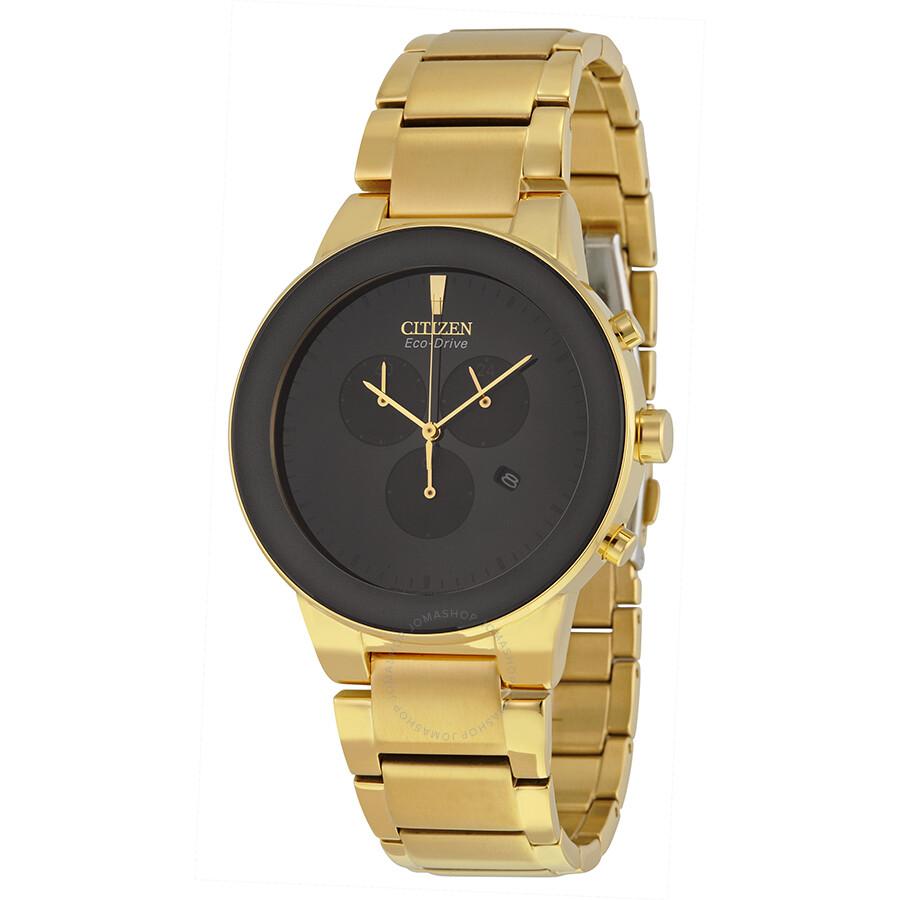 citizen axiom eco drive chronograph black gold tone