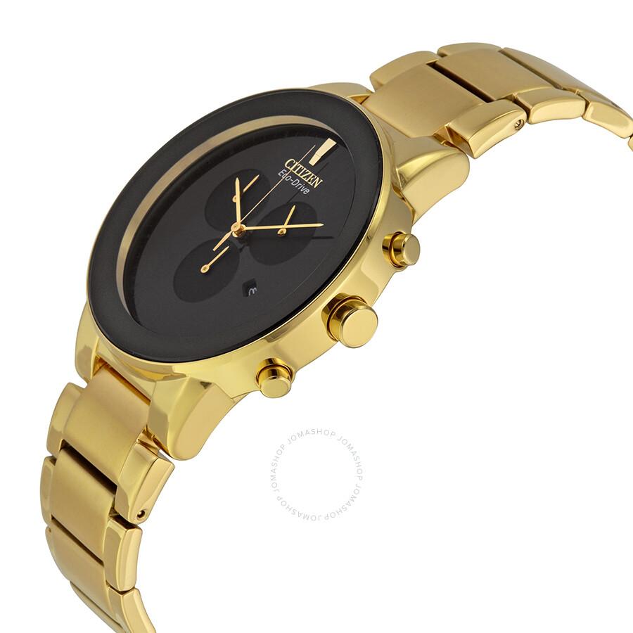 75433969f ... Citizen Axiom Eco Drive Chronograph Black Dial Gold-tone Men's Watch  AT2242-55E ...