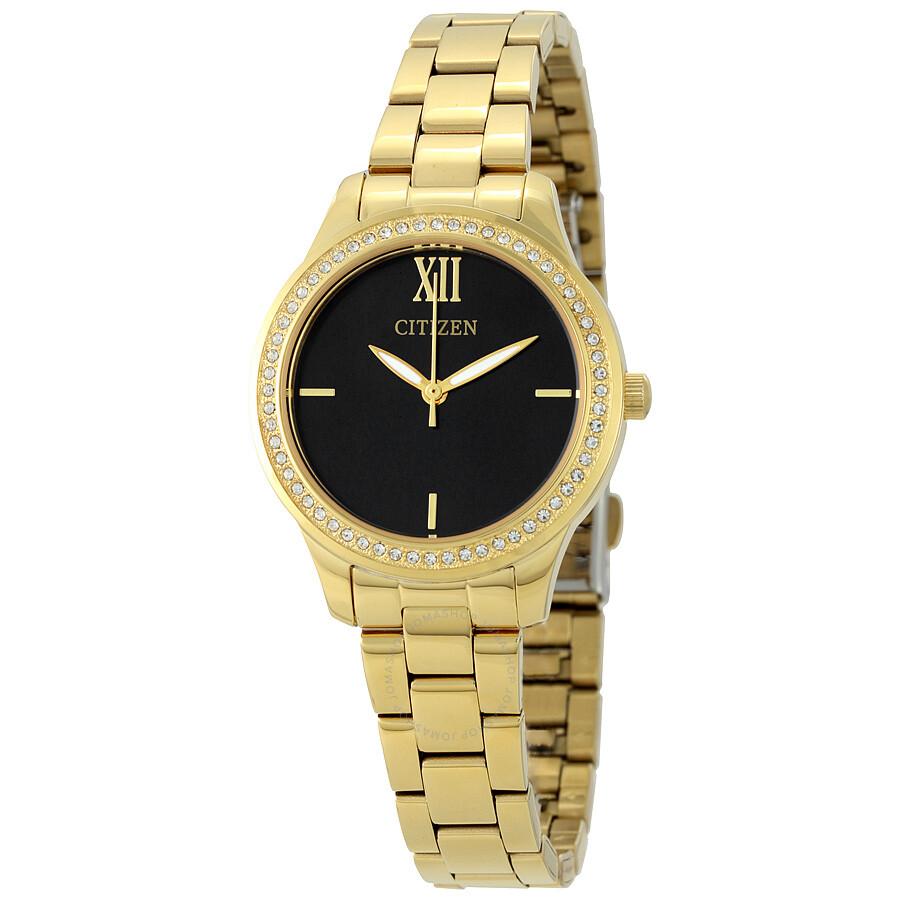 Citizen Black Dial Gold-tone Ladies Watch EL3088-59E - Eco ...