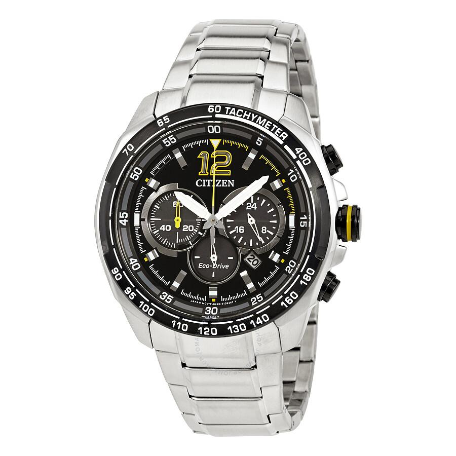 46a3cc447 Citizen Eco-Drive Black Chronograph Dial Racing Sport Men's Watch  CA4234-51E ...