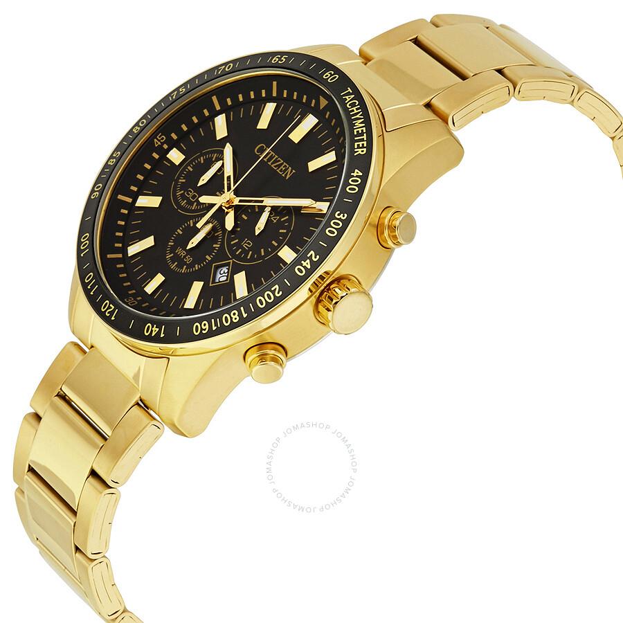 citizen black s gold tone chronograph