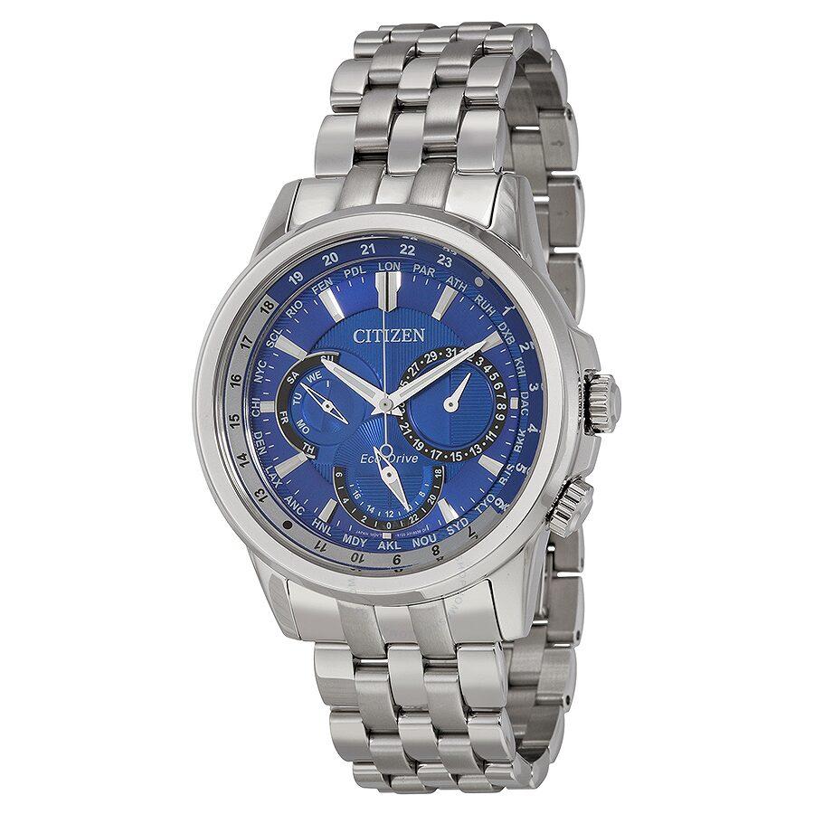 Citizen calendrier dark blue dial men 39 s watch bu2021 51l calendrier citizen watches jomashop for Citizen watches