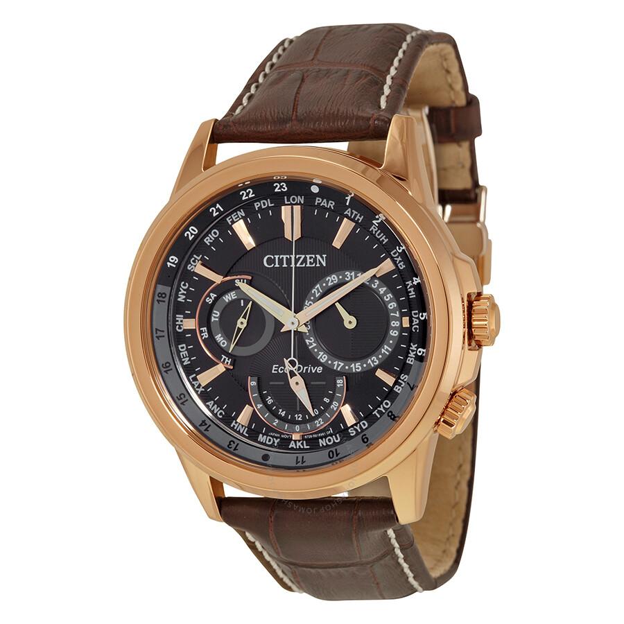 Citizen calendrier eco drive black dial men 39 s watch bu2023 04e calendrier citizen watches for Citizen watches