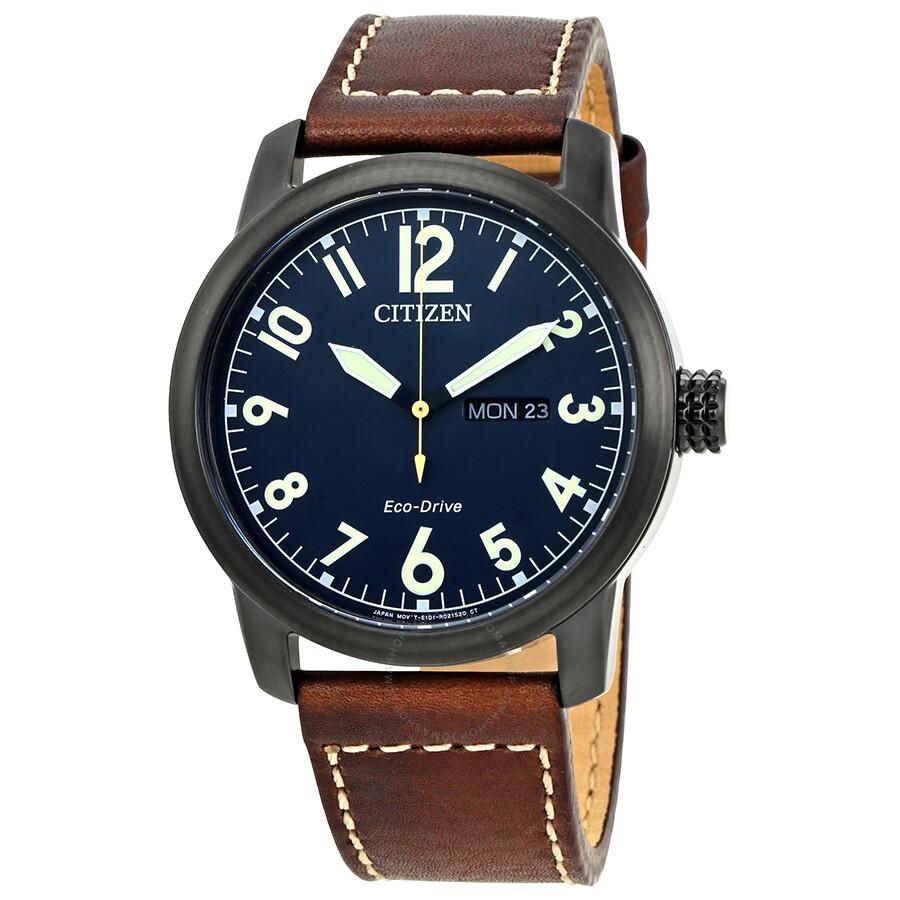Citizen chandler dark blue dial men 39 s brown leather watch bm8478 01l citizen watches jomashop for Citizen watches