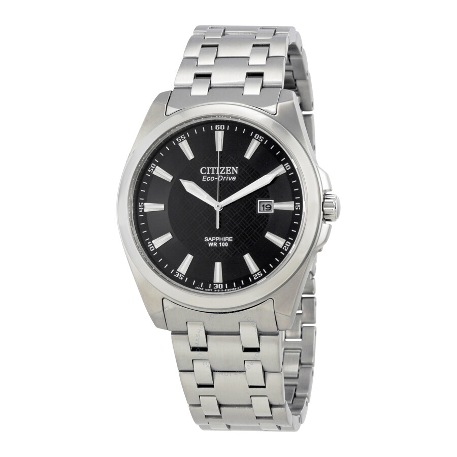 Citizen corso eco drive black dial stainless steel men 39 s watch bm7100 59e corso citizen for Stainless watches