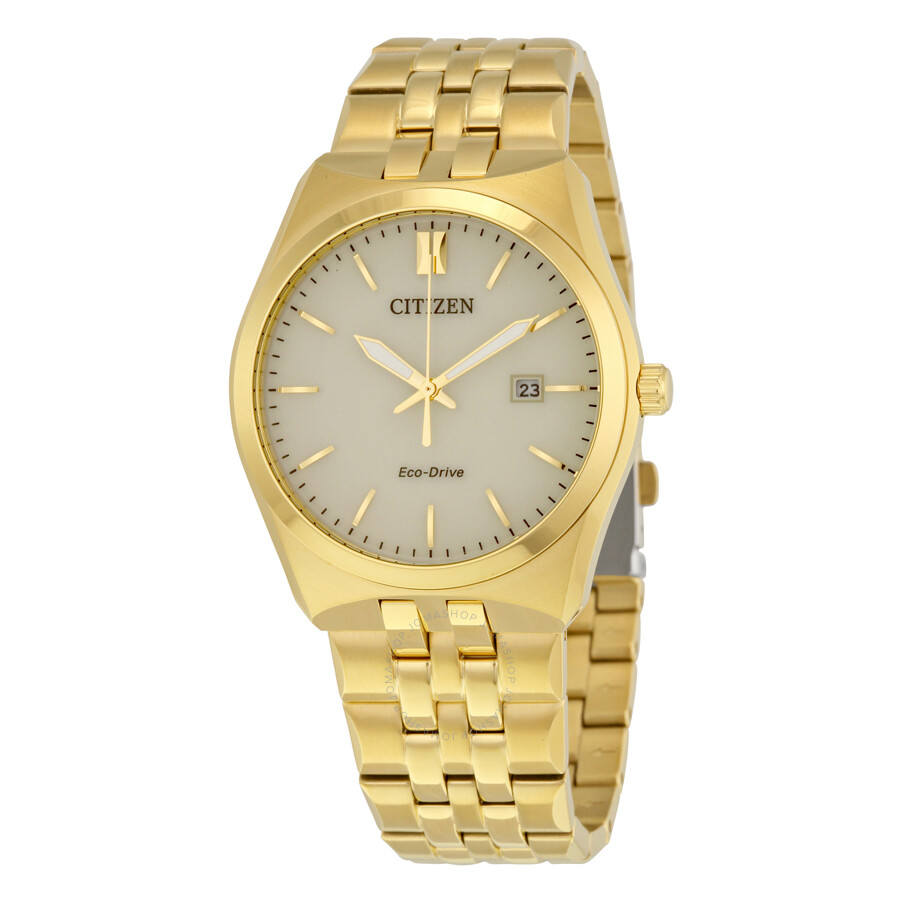 citizen corso eco drive chagne gold tone stainless