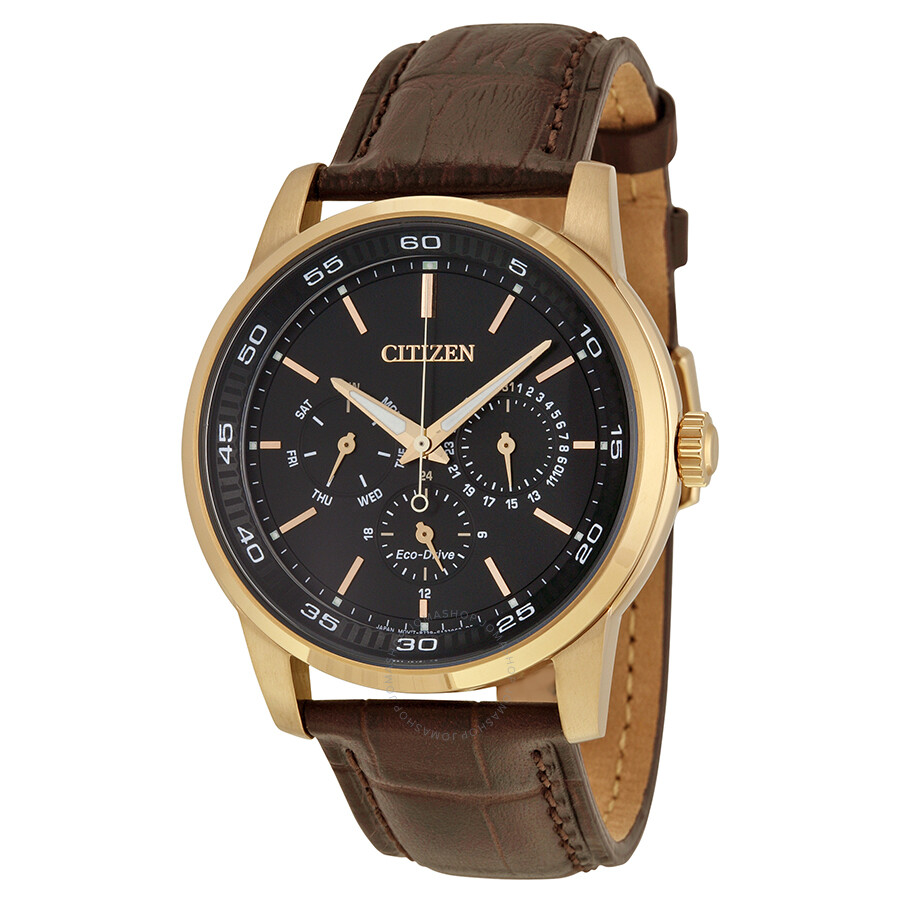 citizen dress eco drive black brown leather s
