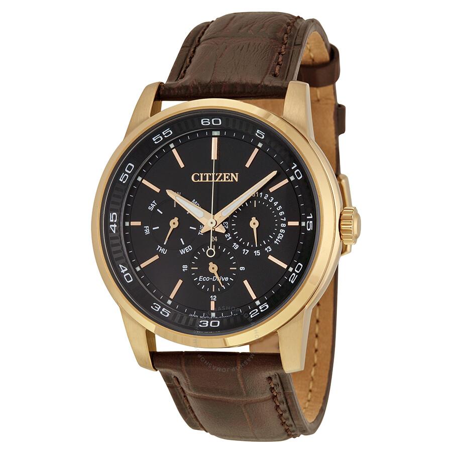 Citizen dress eco drive black dial brown leather men 39 s watch bu2013 08e eco drive citizen for Citizen watches