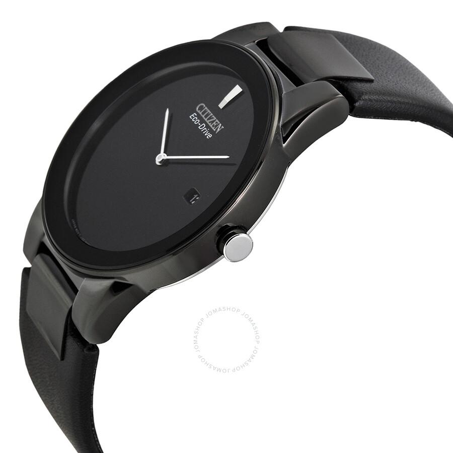 9c3cd59d428 ... Citizen Eco Drive Axiom Black Dial Black Leather Men s Watch AU1065-07E  ...