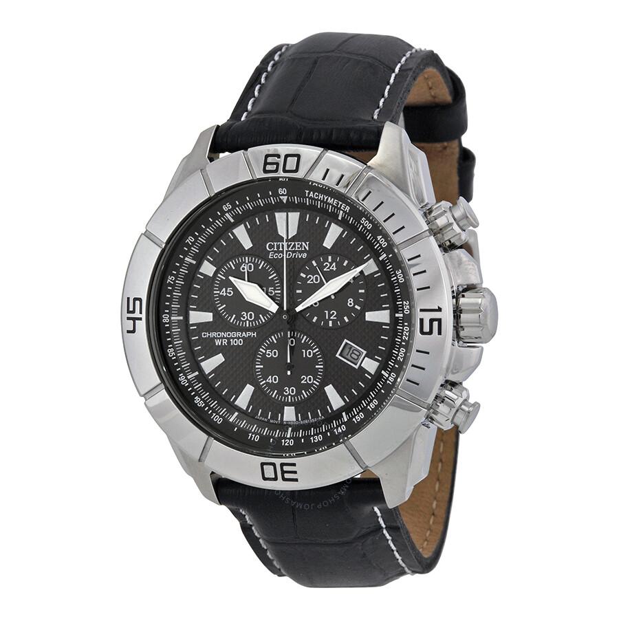 citizen eco drive black chronograph sport s
