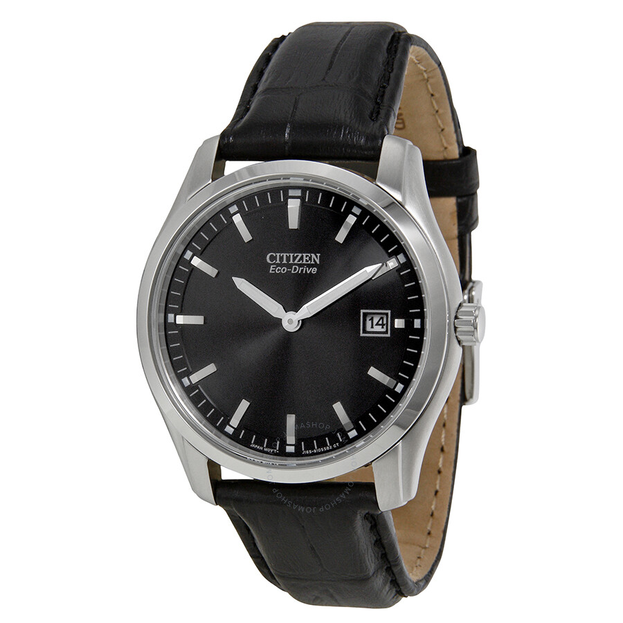 citizen eco drive black black leather s