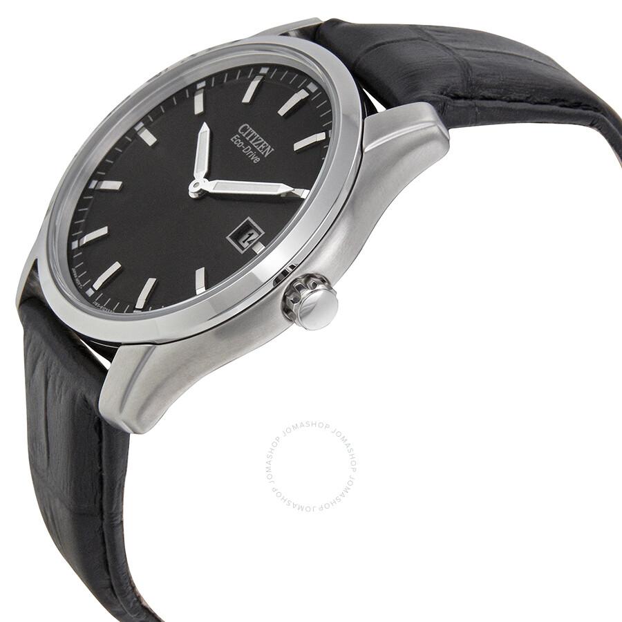 c79433700 ... Citizen Eco Drive Black Dial Black Leather Men's Watch AU1040-08E ...