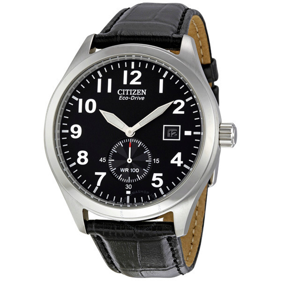 e09649704 Citizen Eco Drive Black Dial Black Leather Strap Men's Watch BV1060-07E ...