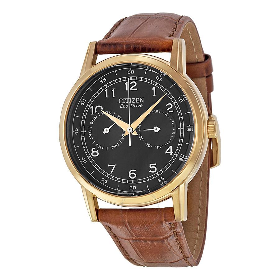 Citizen eco drive black dial brown leather men 39 s watch ao9003 08e eco drive citizen for Citizen watches
