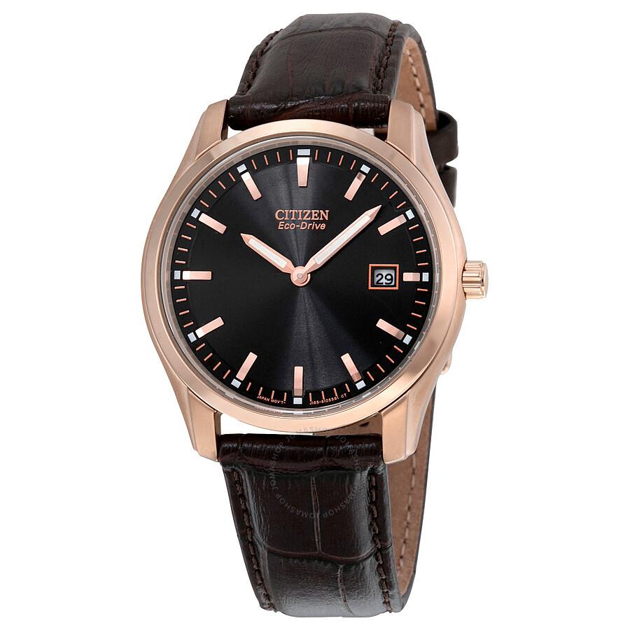 c65d475e8 Citizen Eco Drive Black Dial Brown Leather Men's Watch AU1043-00E ...