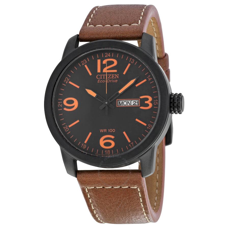 8af056f6a71437 Citizen Eco Drive Black Dial Brown Leather Men's Watch BM8475-26E ...