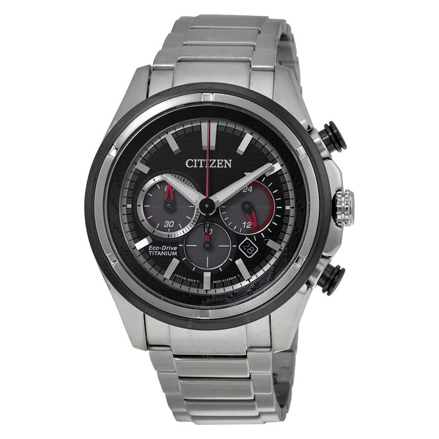 701436486 Citizen Eco Drive Black Dial Chronograph Titanium Men's Watch CA4240-82E ...