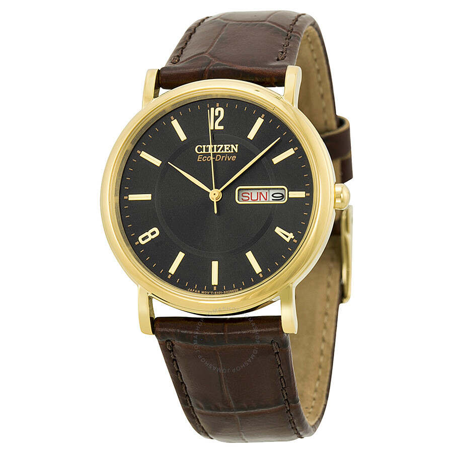 citizen eco drive black dial gold tone stainless steel brown leather men 39 s watch bm8242 08e