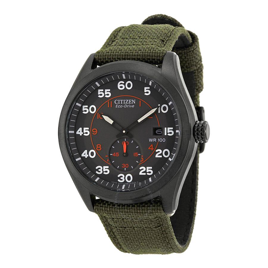 d77ade1c7 Citizen Eco Drive Black Dial Green Nylon Strap Men's Watch BV1085-22H ...