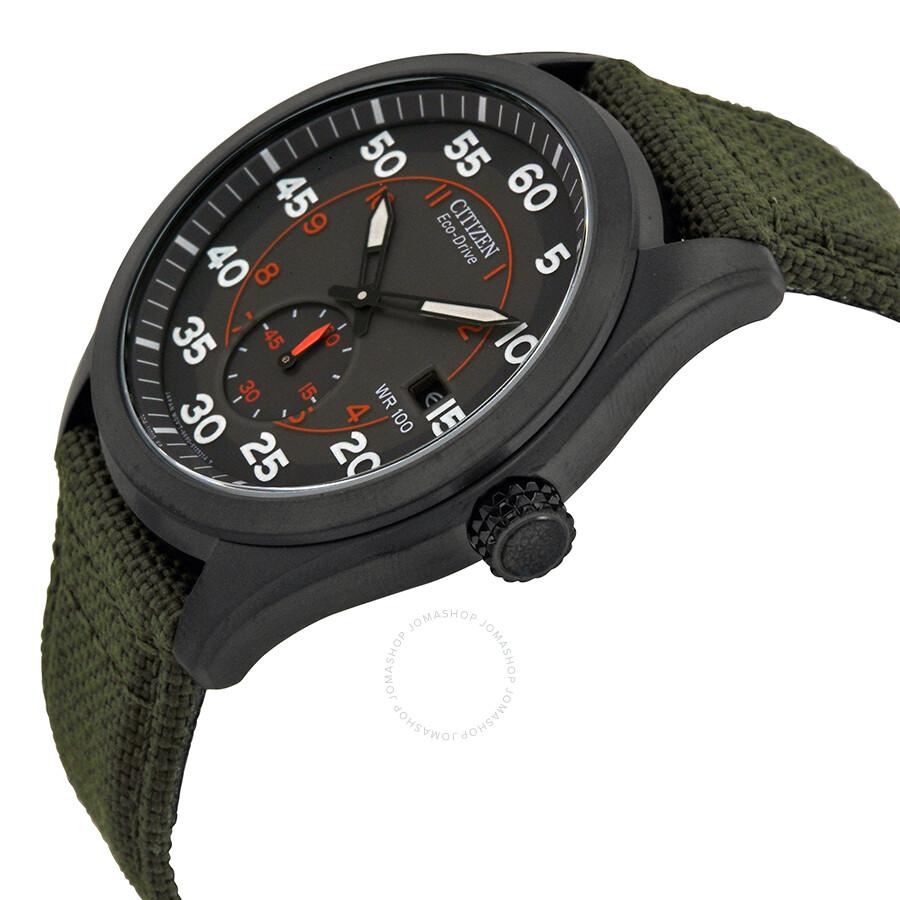... Citizen Eco Drive Black Dial Green Nylon Strap Men s Watch BV1085-22H  ... 12415cb71
