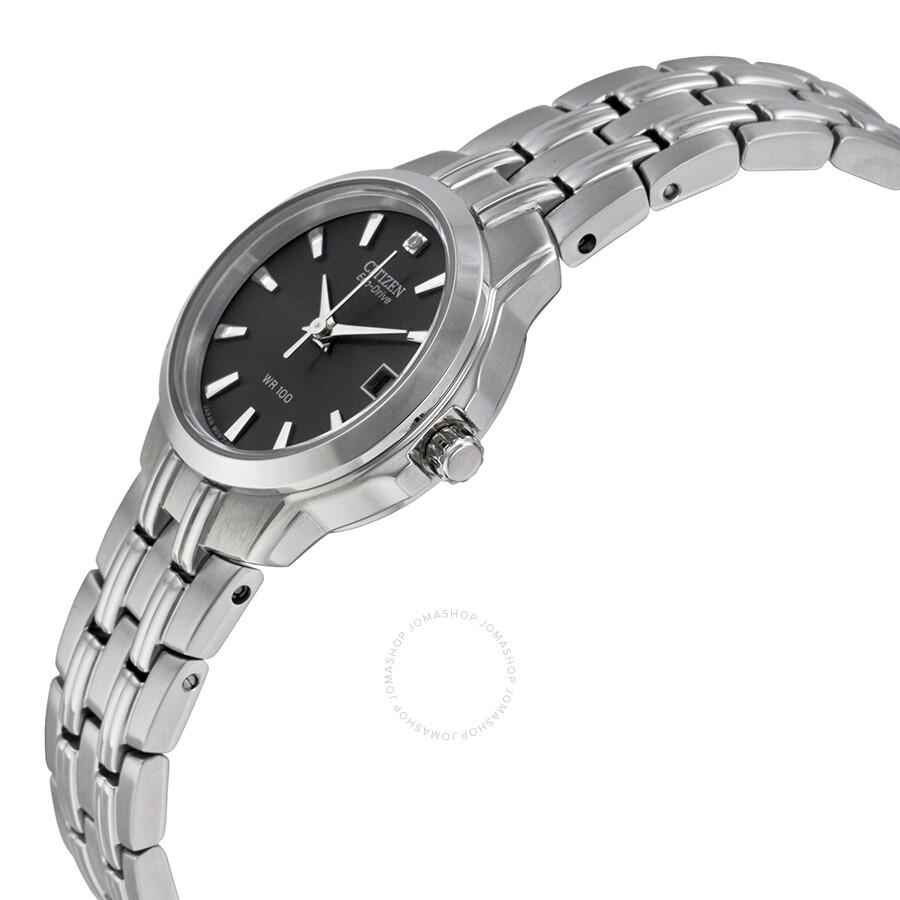 ... Citizen Eco-Drive Black Dial Stainless Steel Ladies Watch EW1540-54E ... 632d35efcc