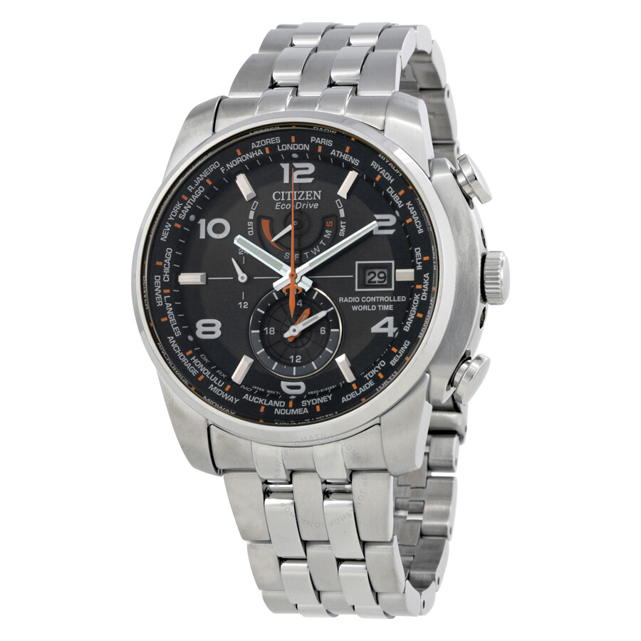 Citizen eco drive black dial stainless steel men 39 s watch at9010 52e eco drive citizen for Metal watches