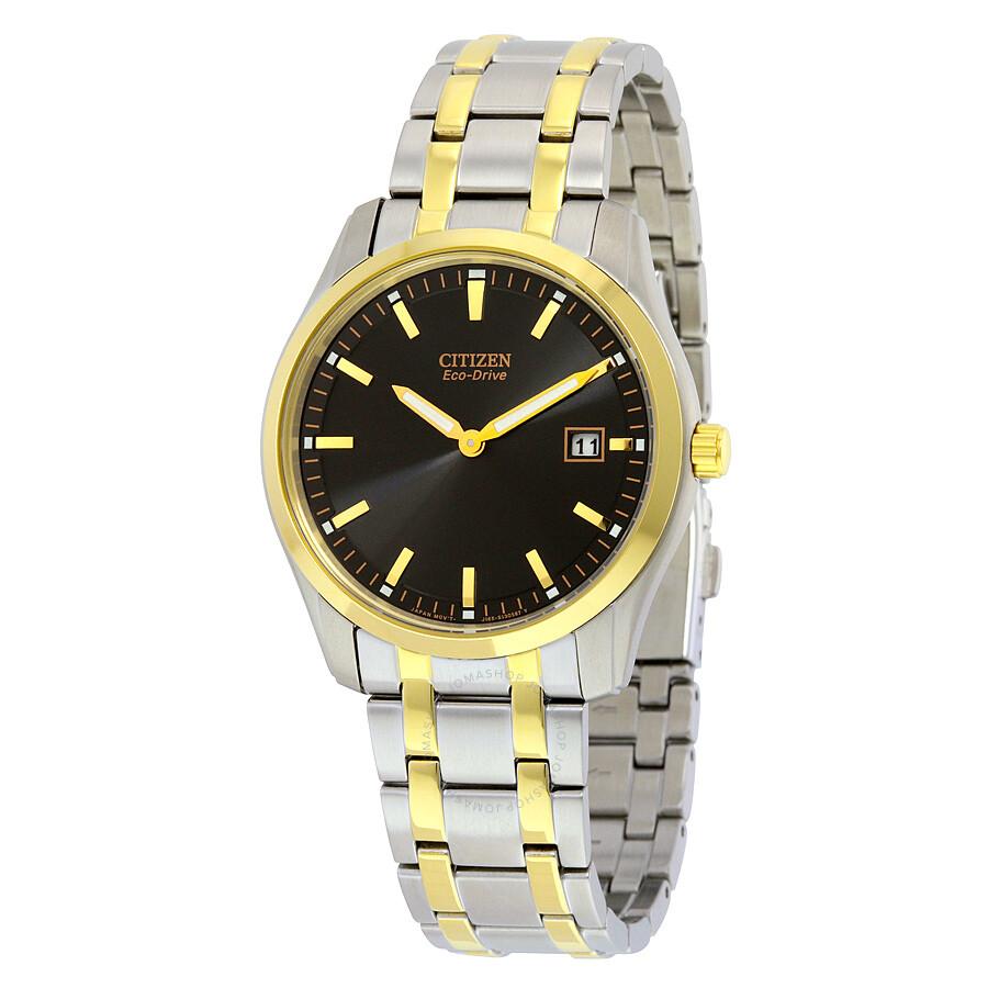 Citizen eco drive black dial two tone men 39 s watch au1044 58e eco drive citizen watches for Citizen watches