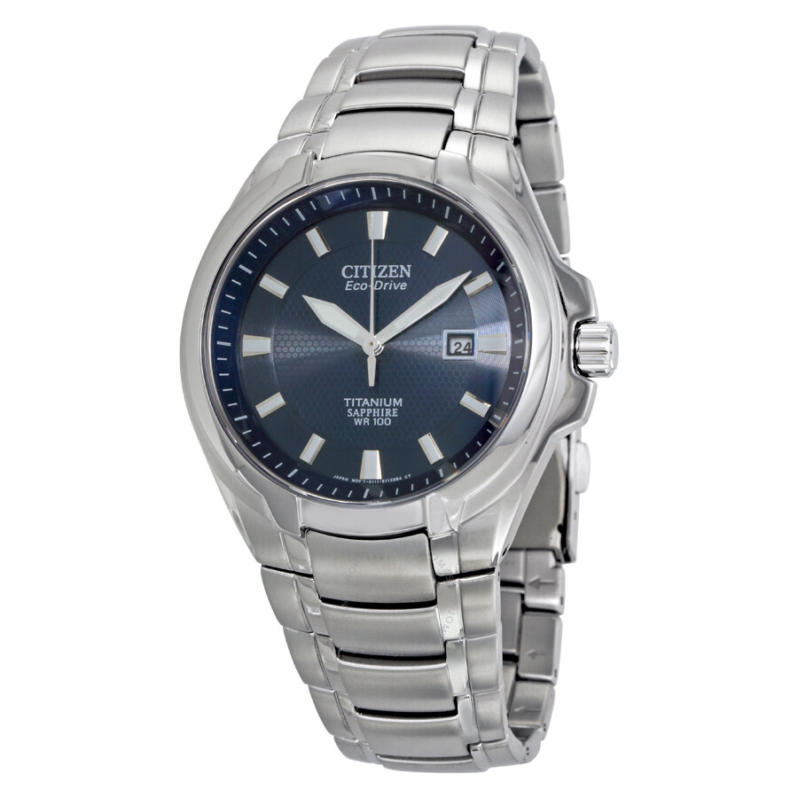 Citizen eco drive blue dial titanium men 39 s watch bm7170 53l eco drive citizen watches for Titanium watches