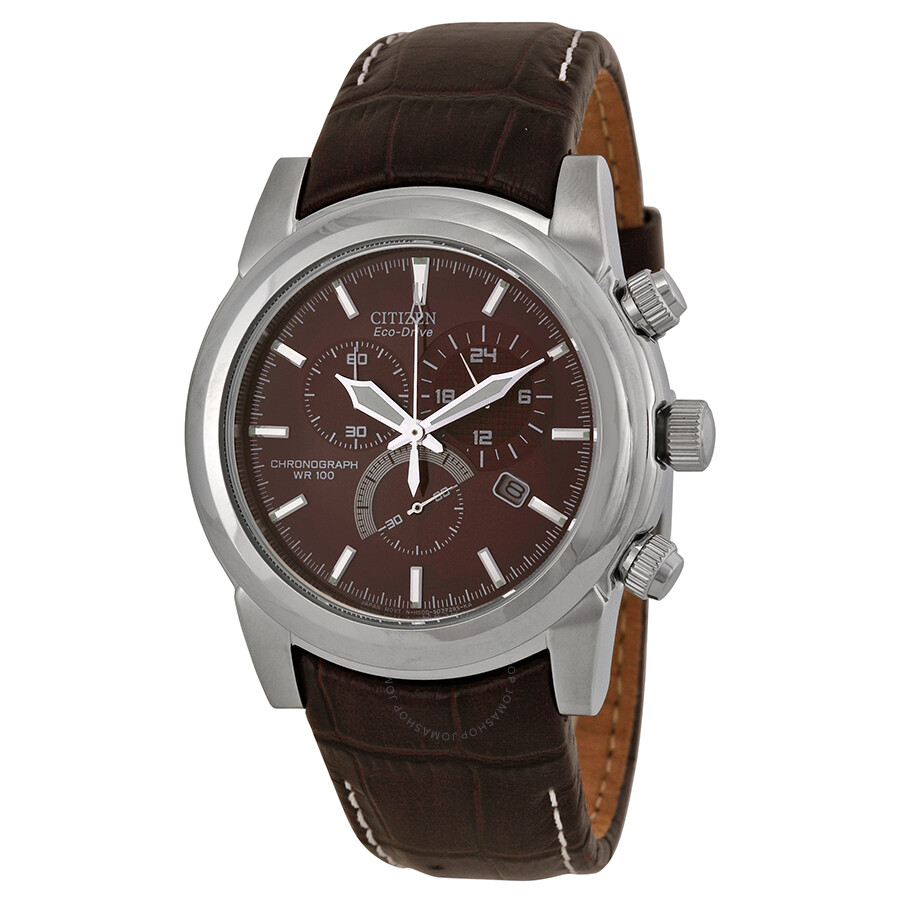 citizen eco drive chronograph brown s
