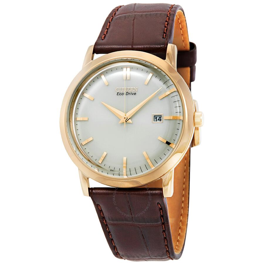 eea30cc08 Citizen Eco-Drive Ivory Dial Brown Leather Men's Watch BM7193-07B ...