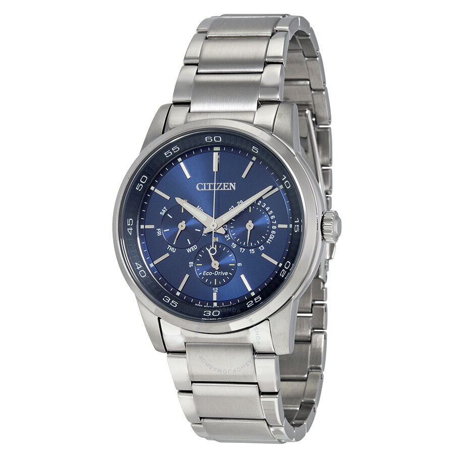 citizen eco drive multi function blue stainless steel