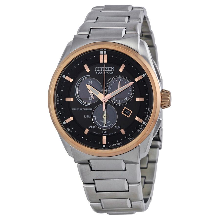 Perpetual Calendar Watches : Citizen eco drive perpetual calendar black dial stainless