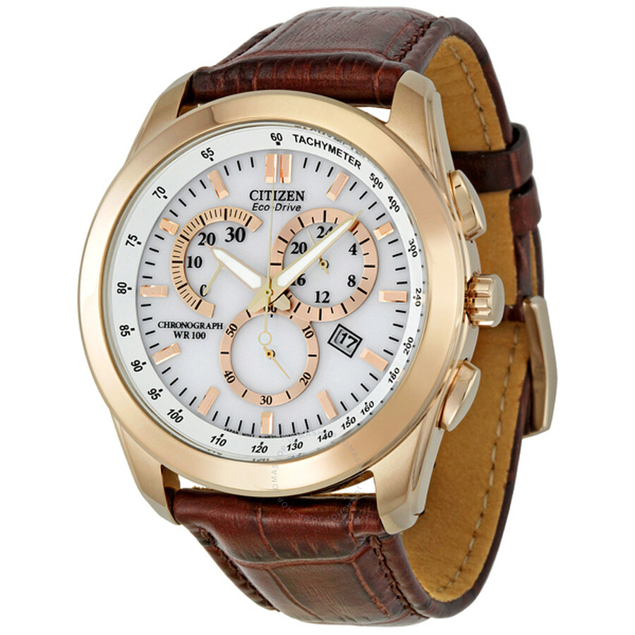 e560b8126 Citizen Eco Drive Rose Gold-Tone Chronograph Brown Leather Men's Watch  AT1183-07A ...