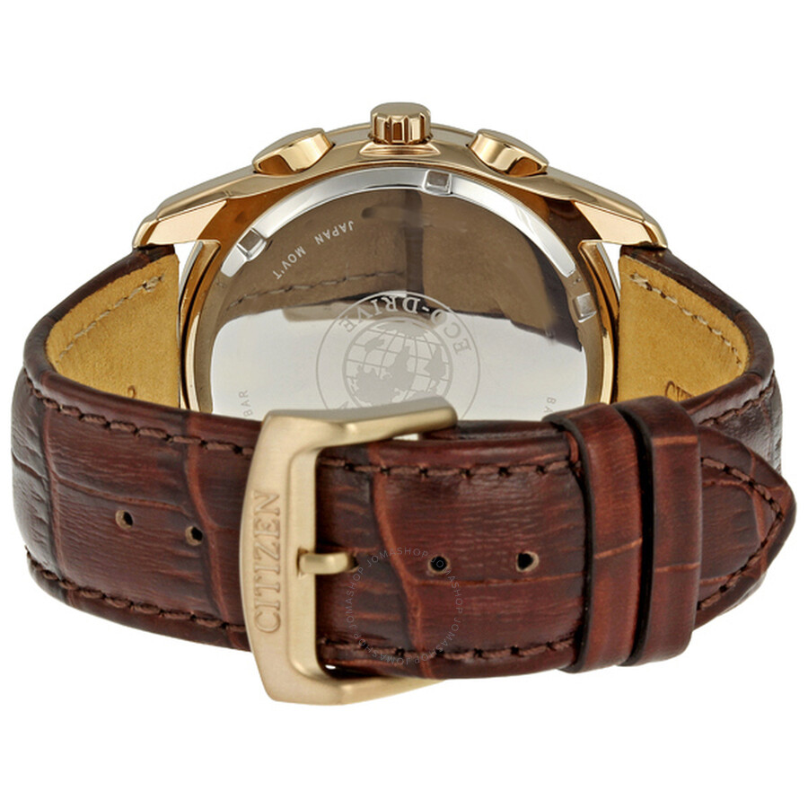 6fe7a68de ... Citizen Eco Drive Rose Gold-Tone Chronograph Brown Leather Men's Watch  AT1183-07A ...