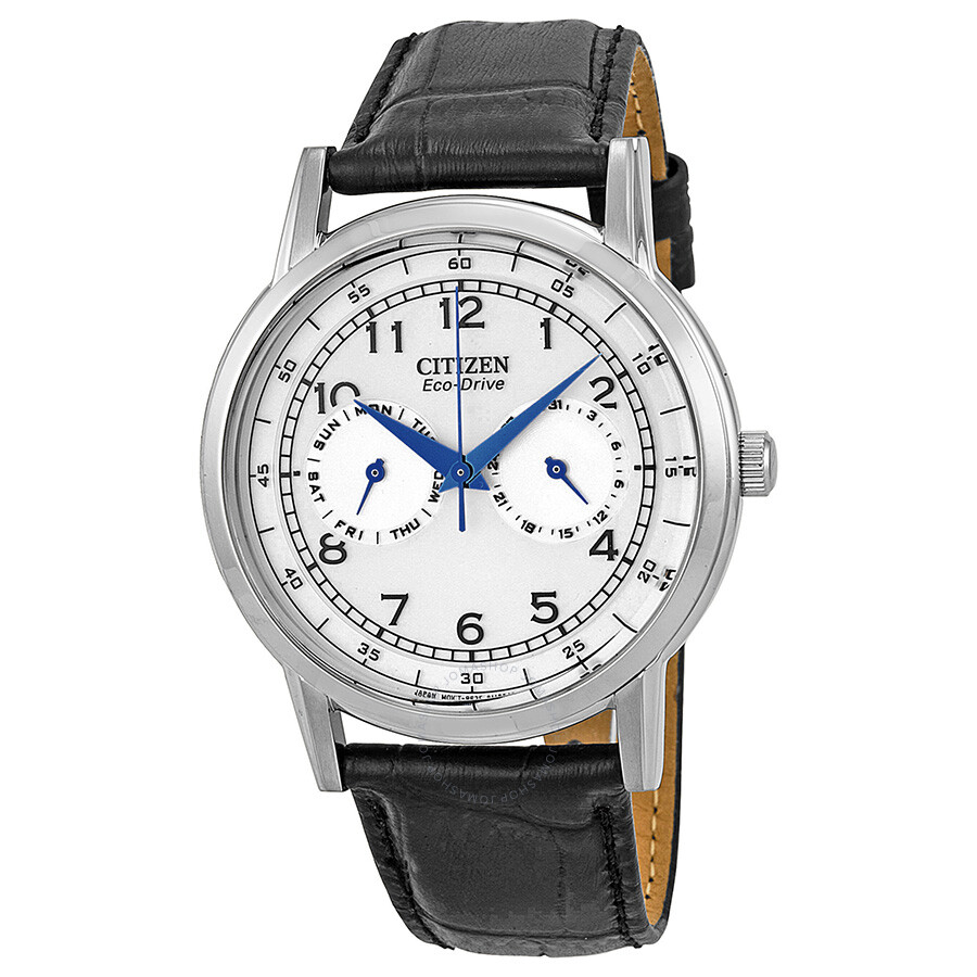 citizen watches jomashop citizen eco drive silver dial black leather men s watch ao9000 06b