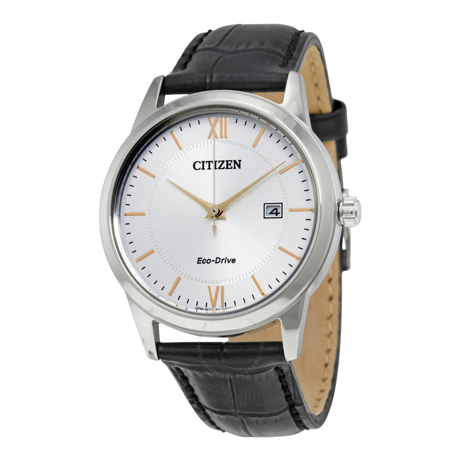 Citizen Eco-Drive Silver Dial Black Leather Men's Watch