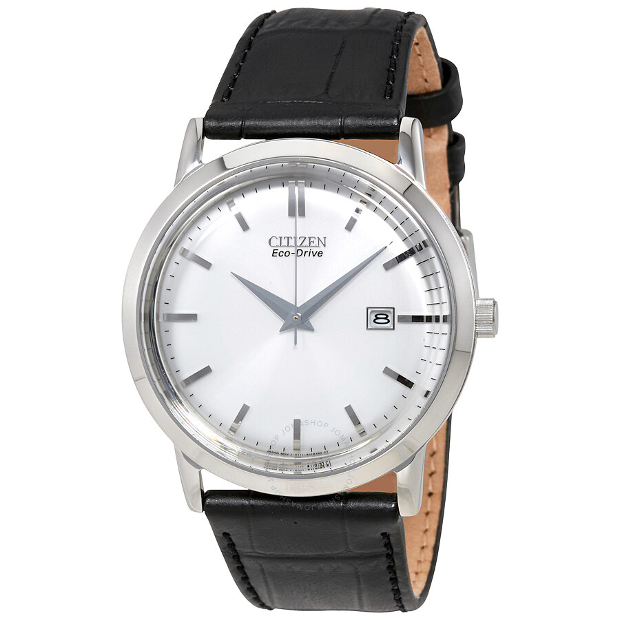 Citizen eco drive silver dial stainless steel black leather men 39 s watch bm7190 05a eco drive for Eco drive watch