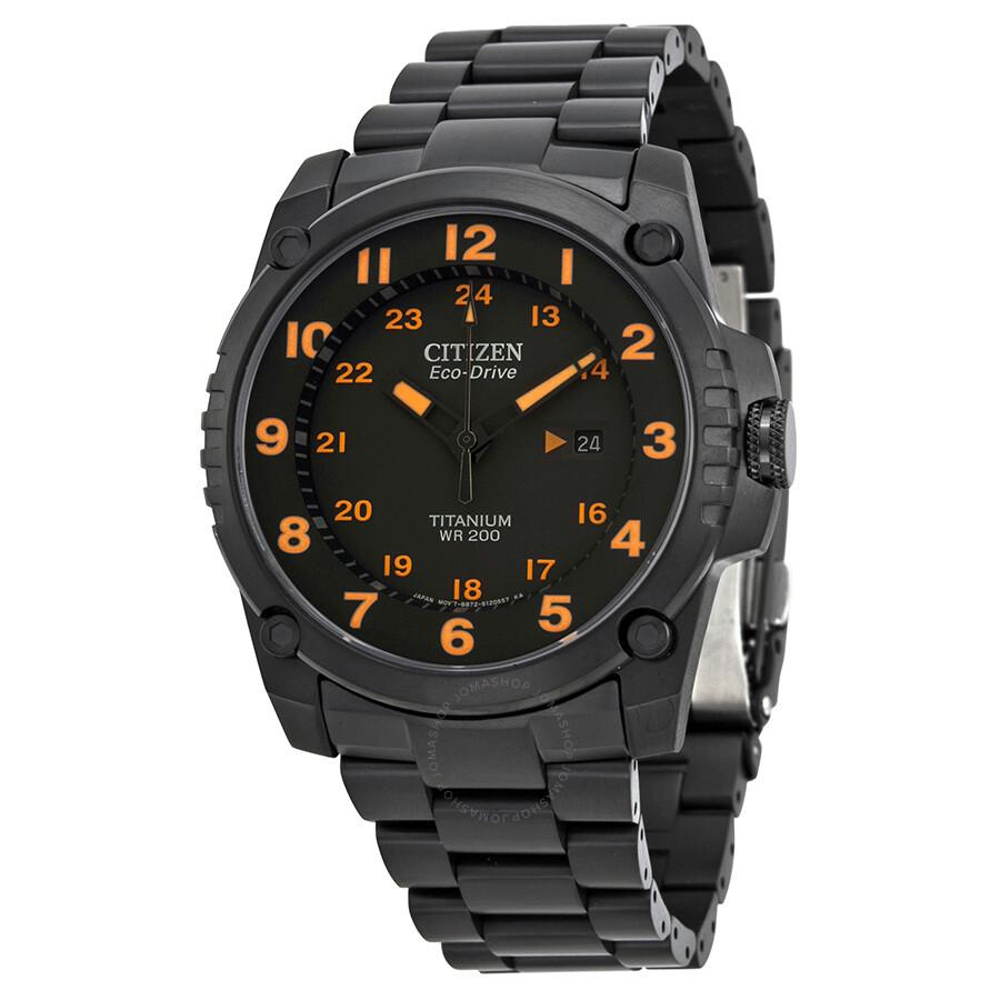 Citizen Eco Drive STX43 Black Orange Dial Titanium Men's ...