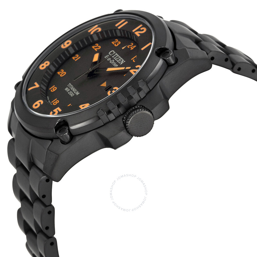 citizen eco drive stx43 black orange titanium s